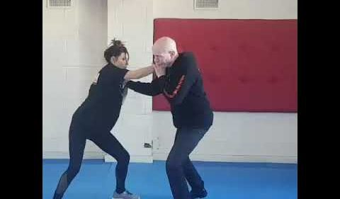 Martial Arts Drill against Front Strangulation.